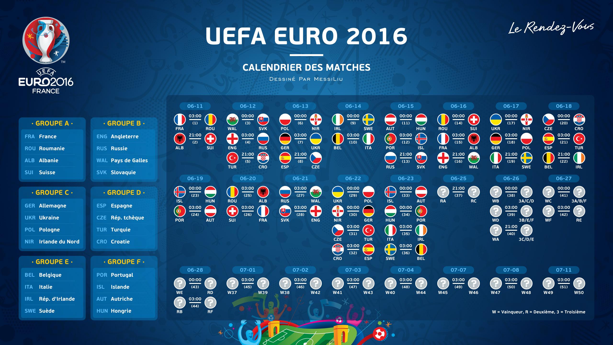 برنامه کامل مسابقات فوتبال جام ملت های اروپا 2016 با کیفیت بالا